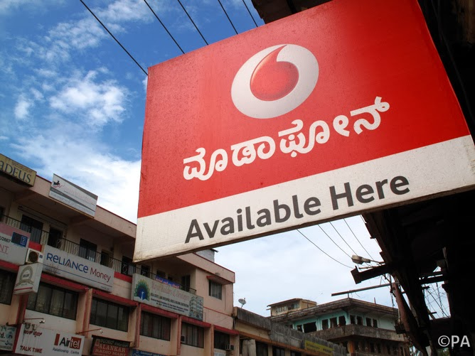 A general view of a Vodafone mobile phone sign in Mangalore, Karnataka, India.