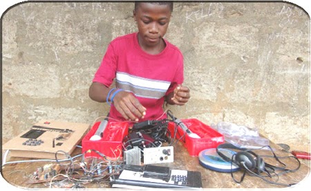 Kelvin Doe with his radio equipment