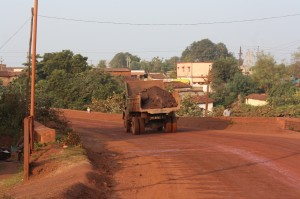 A truck carrying mined iron ore
