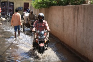 A street flooded with sewage in Gokalpur