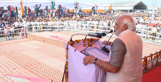 Narendra Modi addressing a Rally in Kurukshetra in Haryana | Photo: via Wikimedia Commons