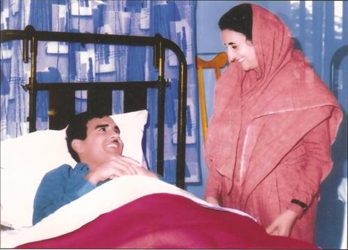 Prime Minister Indira Gandhi, comforting Maj Shekhawat, SM in Military Hospital