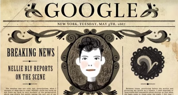 Google celebrates Nellie Bly's 151st Birthday with a musical doodle