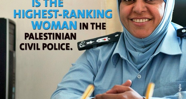 "As the head of the Palestinian Civil Police Family & Juvenile Protection Unit, Lieutenant Colonel Wafa Muammar, the highest-ranking female officer in the country's police force, is a role model for women trying to find their own space in a ""man's profession""."