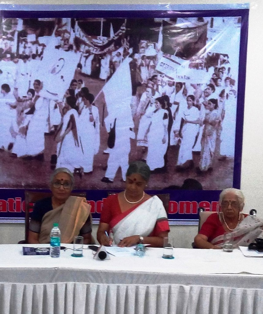 Aruna Roy (left) maintained that activists need to put together every bit of their strength, and continue the struggle when she met other veteran activists like Annie Raja (centre) General Secretary, NFIW, historian Aparna Basu (right) in the capital. (Credit: NFIW)
