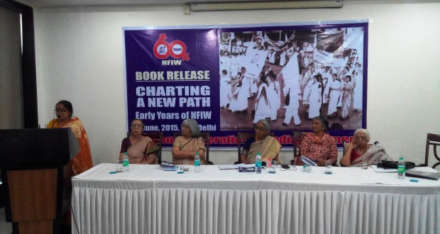 "Recently, some of the leading voices of India's historic women's movement, including (l-r) Lata Singh, Jyotsna Chatterji, Indu Agnihotri, Aruna Roy, Pamela Philipose and Aparna Basu gathered to share their side of the empowerment story and take stock of ""how far we have come"". (Credit: NFIW)"