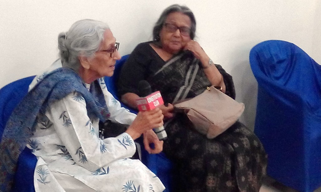 Veteran activists Primla Loomba (left) and Ranjana Ray (right) shared experiences and anecdotes during a discussion recently at the release of 'Charting a New Path: Early Years of National Federation of Indian Women'. (Credit: NFIW)