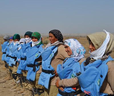 NPA female demining team in Tajikistan in 2014. | Photo : Courtesy of Norwegian People's Aid. (http://www.jmu.edu/cisr/journal/19.1/notes/niklova.shtml)