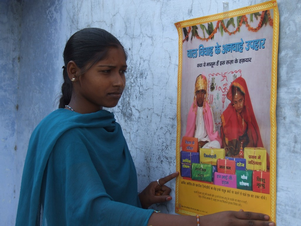 Uma Kumari, 17, of Badgaon village in Uttar Pradesh's Siddharth Nagar district may be a child bride but today she is a crusader against child marriage and, in fact, a vociferous advocate of adolescent health and rights. (Credit: Tarannum\WFS)