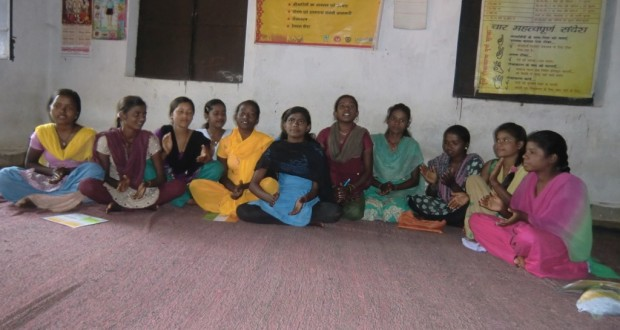 Members of the Kishori Mandal in Ranchi district get together once every week to review their micro-credit accounting and then discuss issues like eating healthy meals or standing up against child marriage. (Credit: Ajitha MenonWFS)