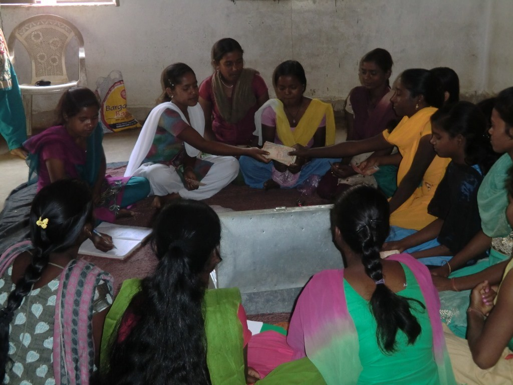 Members of a Kishori Mandal have to contribute Rs 10 each week and can borrow from the corpus at five per cent interest. Usually, girls take money to finance their education or pay for repairs at home. (Credit: Ajitha MenonWFS)