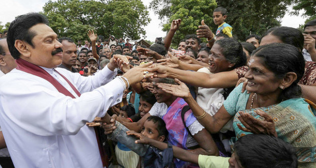 Mahinda Rajapaksa at a campaign rally. |Photo: via Mahinda Rajapaksa's office, Creative Commons License