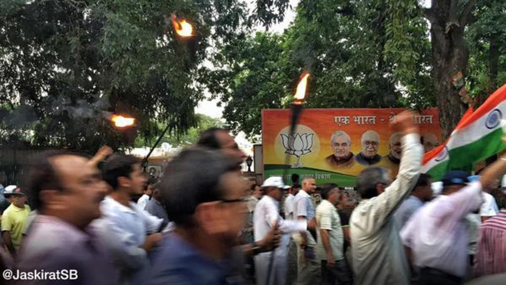 OROP rally ironically passing through BJP Office on Ashoka Road