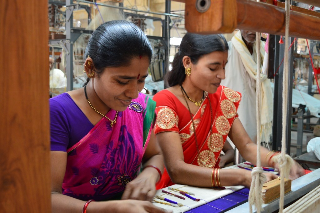 Compared to the hard work put in by the women to weave the Paithani, the money they earn is paltry but it is indispensable as it enables them to keep their family going. (Credit: Surekha Kadapa-Bose\WFS)