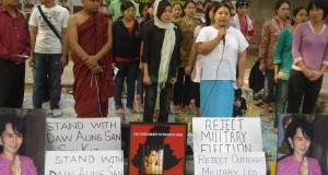 "Two years ago in November about 50 Burmese – largely women – celebrated the release of Aung San Suu Kyi at Delhi's Jantar Mantar by holding placards and raising the cry, ""Long live Aung San Suu Kyi"". (Credit: Ninglun Hanghal\WFS)"