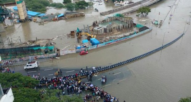 A submerged road in Chennai