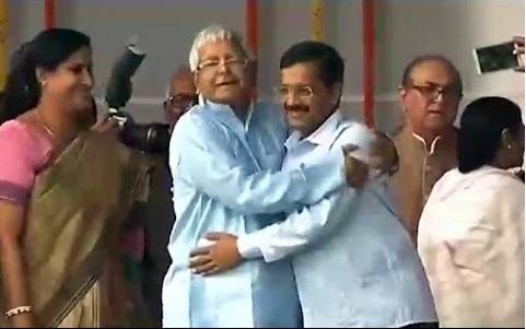 A 'crusader against corruption' Arvind Kejriwal hugging Lalu Yadav post Bihar election results this year