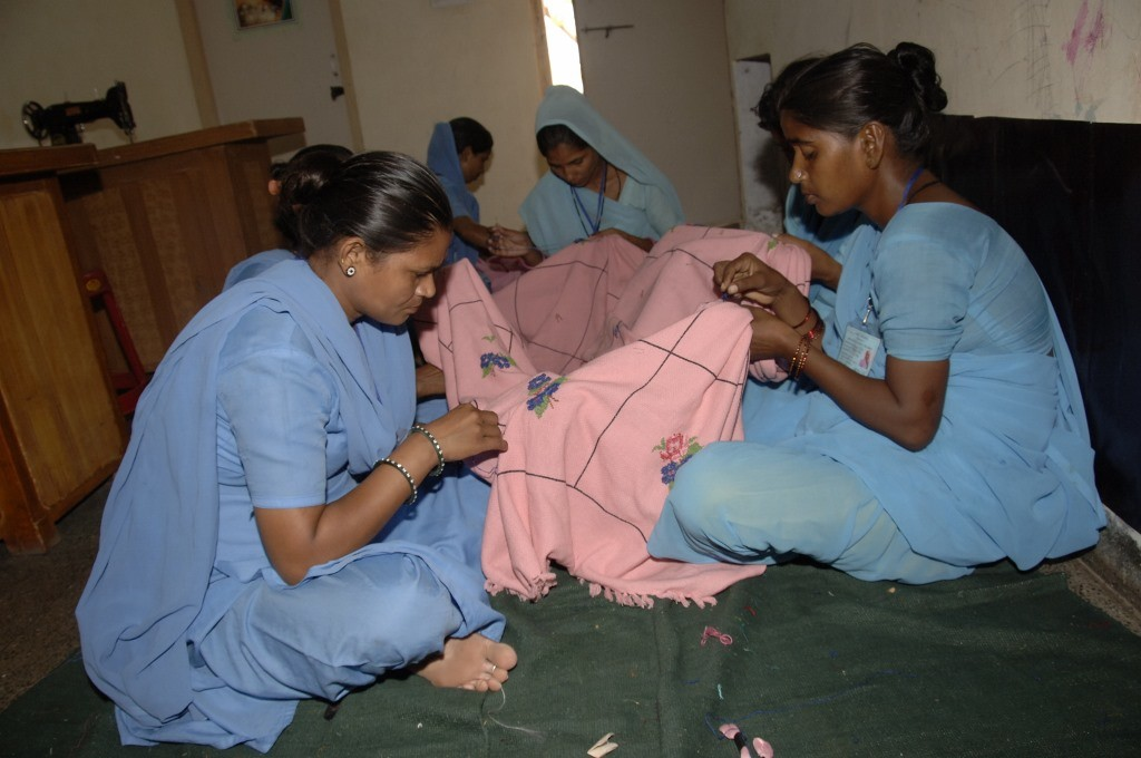 Women registered at the Sulabh training centre, Nai Disha,are taught various vocational skills like food processing, tailoring and beauty care apart from imparting them functional literacy.(Credit: Elsa Mathews\WFS)