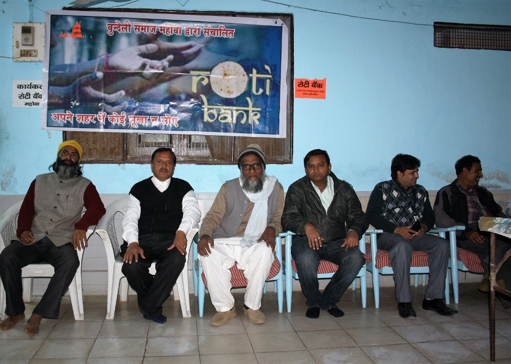 members of Bundeli Samaj's central executive from left Tara Patkar, Arun Chaturvedi, Haji Muttan, Ajay Barsaiyan & others