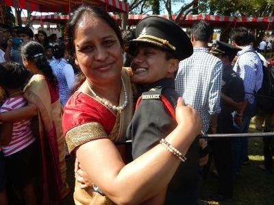 Mother  (Mrs Bimla Rana) hugging Lieut Meenakshi Rana on her commissioning